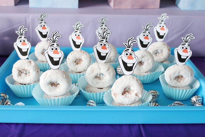 Olaf Donut Cupcakes from a Frozen 2 Birthday Party with DIY Backdrop on Kara's Party Ideas | KarasPartyIdeas.com (11)