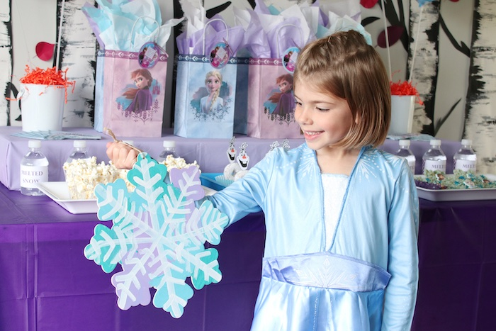 Snowflake Painting Activity from a Frozen 2 Birthday Party with DIY Backdrop on Kara's Party Ideas | KarasPartyIdeas.com (38)