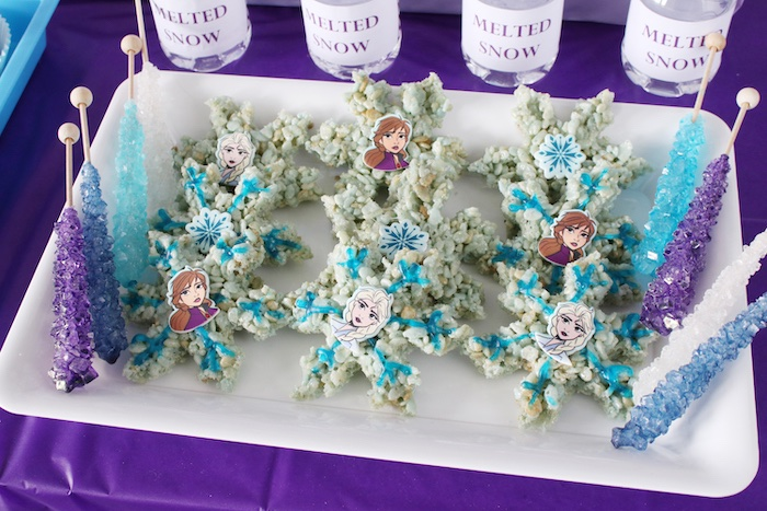 Elsa + Anna Snowflake Rice Krispie Treats from a Frozen 2 Birthday Party with DIY Backdrop on Kara's Party Ideas | KarasPartyIdeas.com (10)