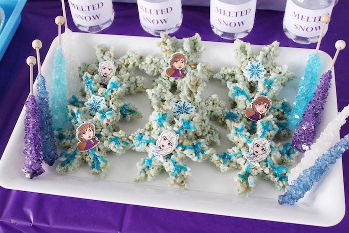 Elsa + Anna Snowflake Rice Krispie Treats from a Frozen 2 Birthday Party with DIY Backdrop on Kara's Party Ideas | KarasPartyIdeas.com (10)
