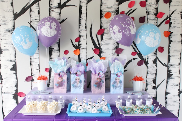 Frozen Themed Party Table from a Frozen 2 Birthday Party with DIY Backdrop on Kara's Party Ideas | KarasPartyIdeas.com (36)