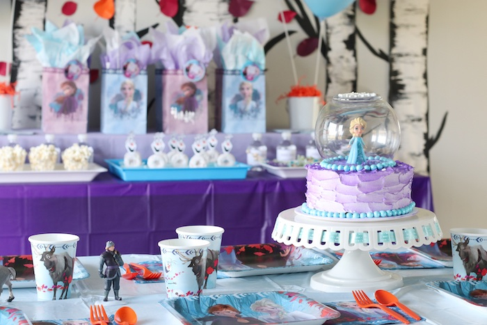 Snow Globe Frozen Cake + Party Table from a Frozen 2 Birthday Party with DIY Backdrop on Kara's Party Ideas | KarasPartyIdeas.com (33)