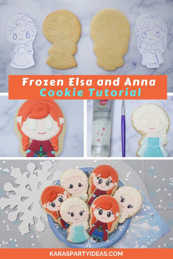 Frozen Elsa and Anna Cookie Tutorial via KarasPartyIdeas - KarasPartyIdeas.com