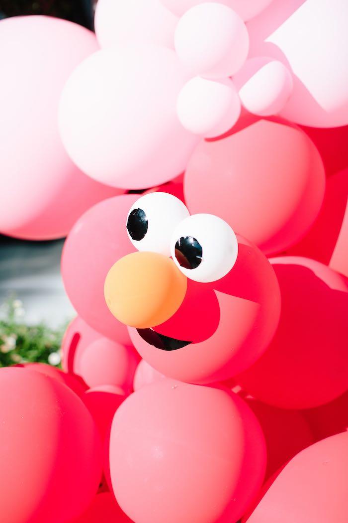 Elmo Balloon Garland + Install from a Girly Elmo Birthday Party on Kara's Party Ideas   KarasPartyIdeas.com (33)