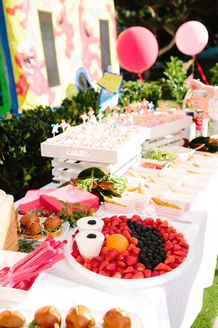 Elmo-inspired Food Table from a Girly Elmo Birthday Party on Kara's Party Ideas   KarasPartyIdeas.com (27)