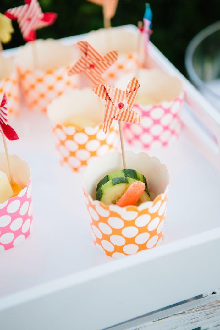 Veggie Cups with Pinwheels from a Girly Elmo Birthday Party on Kara's Party Ideas   KarasPartyIdeas.com (26)