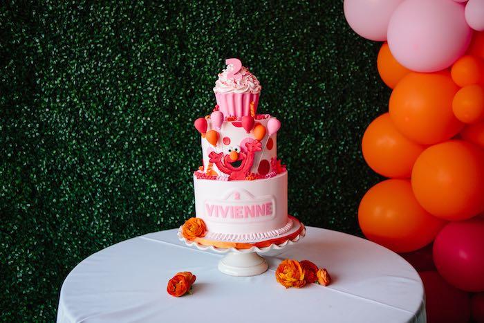 Elmo Themed Cake Table from a Girly Elmo Birthday Party on Kara's Party Ideas   KarasPartyIdeas.com (11)