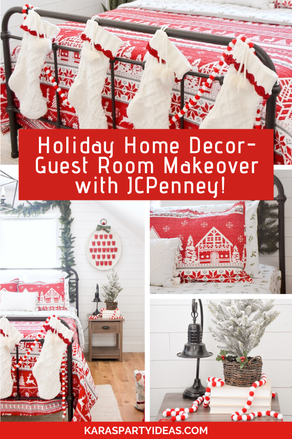 Holiday Home Decor- Guest Room Makeover with JCPenney! via Kara's Party Ideas - KarasPartyIdeas.com