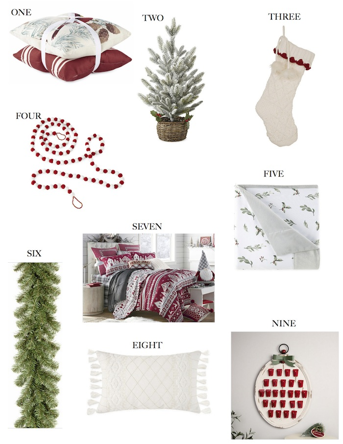 JCPenney Christmas Room Makeover Products