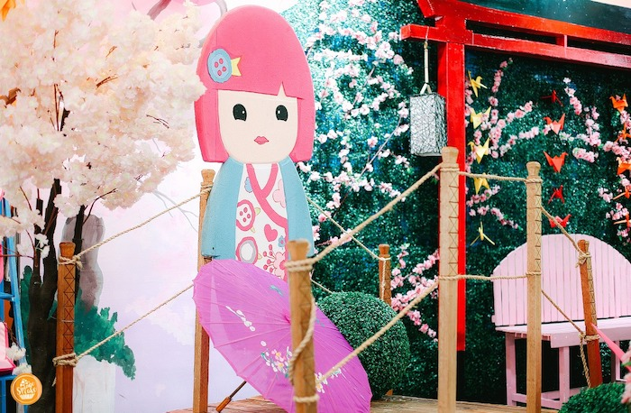 Kokeshi Doll Backdrop Standee from a Japanese Cherry Blossoms & Kokeshi Dolls Birthday Party on Kara's Party Ideas | KarasPartyIdeas.com (11)