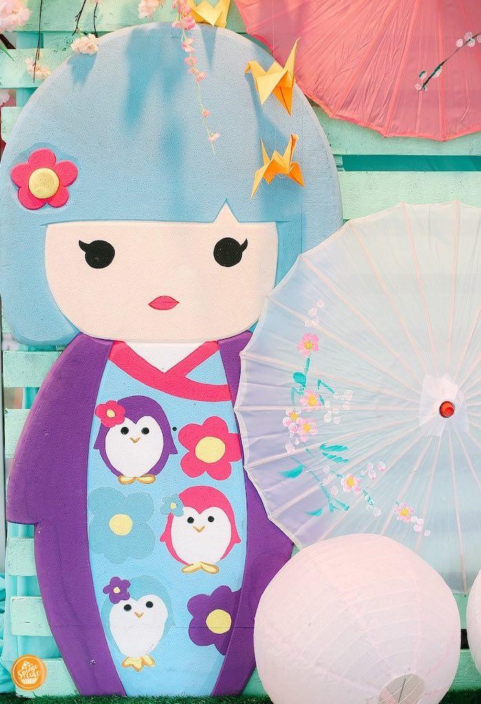 Kokeshi Doll Backdrop Standee from a Japanese Cherry Blossoms & Kokeshi Dolls Birthday Party on Kara's Party Ideas | KarasPartyIdeas.com (5)