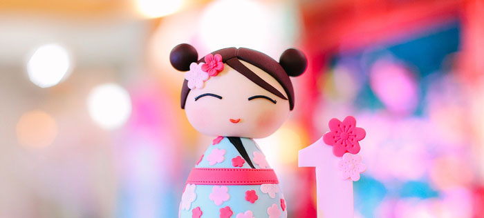 Japanese Cherry Blossoms & Kokeshi Dolls Birthday Party on Kara's Party Ideas | KarasPartyIdeas.com (1)