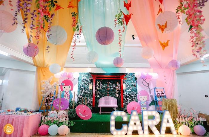 Japanese Cherry Blossoms & Kokeshi Dolls Birthday Party on Kara's Party Ideas | KarasPartyIdeas.com (21)