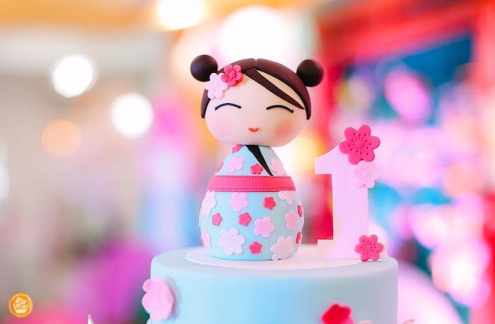 Kokeshi Doll Cake Topper from a Japanese Cherry Blossoms & Kokeshi Dolls Birthday Party on Kara's Party Ideas | KarasPartyIdeas.com (19)