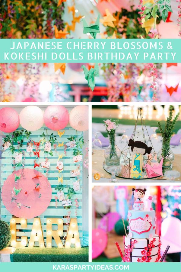 Japanese Cherry Blossoms & Kokeshi Dolls Birthday Party via Kara's Party Ideas - KarasPartyIdeas.com