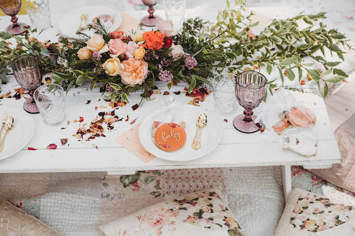 Elegant Table Setting from a Lavish Baby Sprinkle on Kara's Party Ideas | KarasPartyIdeas.com (30)
