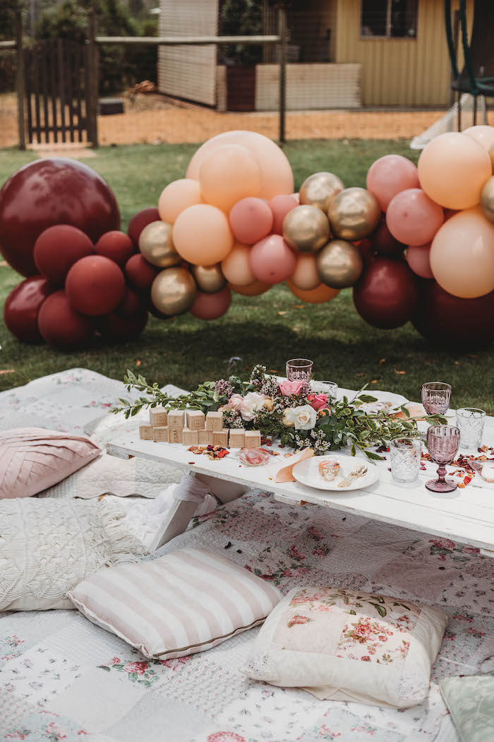 Quilt & Pillow-seated Guest Table from a Lavish Baby Sprinkle on Kara's Party Ideas | KarasPartyIdeas.com (29)