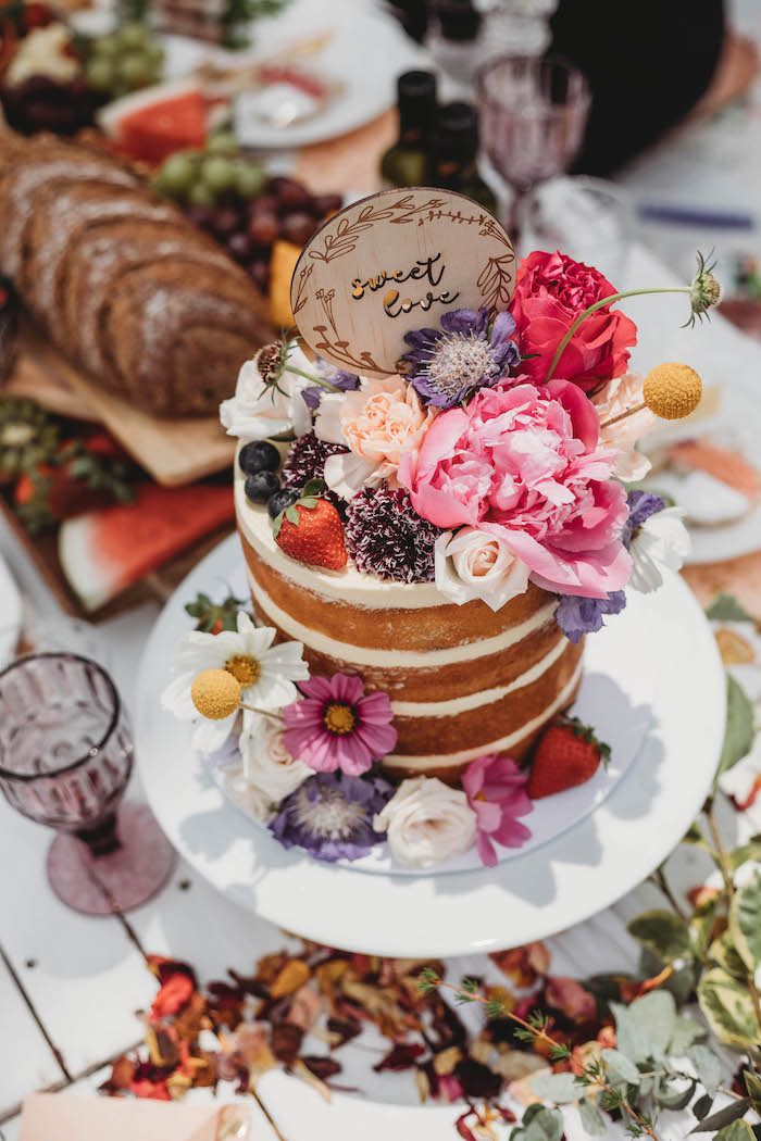 Floral-topped Naked Cake from a Lavish Baby Sprinkle on Kara's Party Ideas | KarasPartyIdeas.com (28)