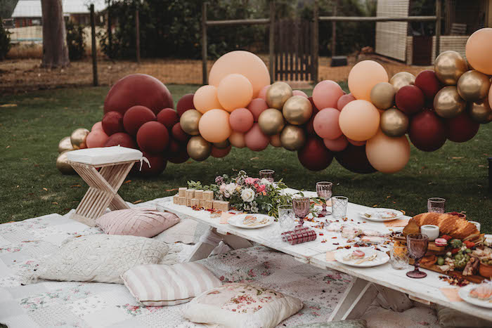 Pillow-seated Picnic Guest Table from a Lavish Baby Sprinkle on Kara's Party Ideas | KarasPartyIdeas.com (27)