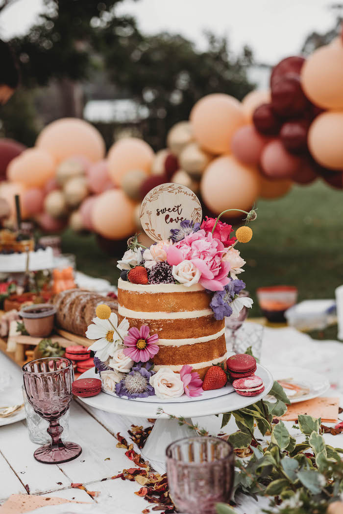 Floral-topped Naked Cake from a Lavish Baby Sprinkle on Kara's Party Ideas | KarasPartyIdeas.com (24)