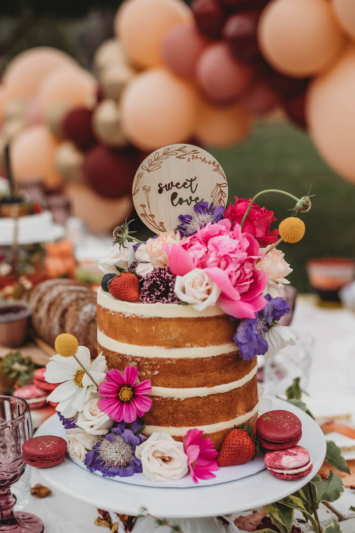 Floral-topped Naked Cake from a Lavish Baby Sprinkle on Kara's Party Ideas | KarasPartyIdeas.com (23)