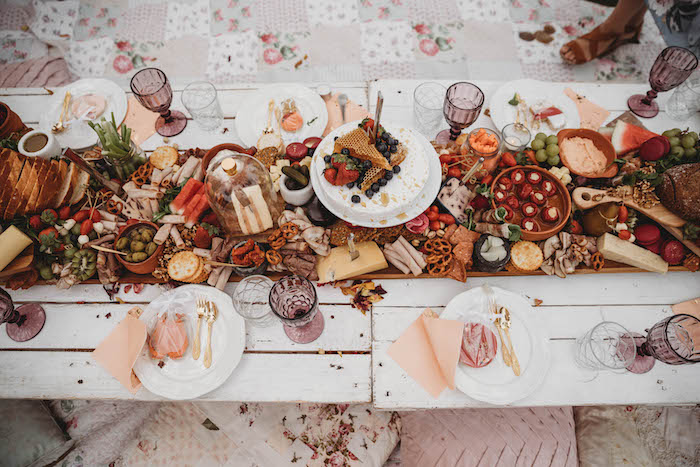 Guest + Grazing Tabletop from a Lavish Baby Sprinkle on Kara's Party Ideas | KarasPartyIdeas.com (22)