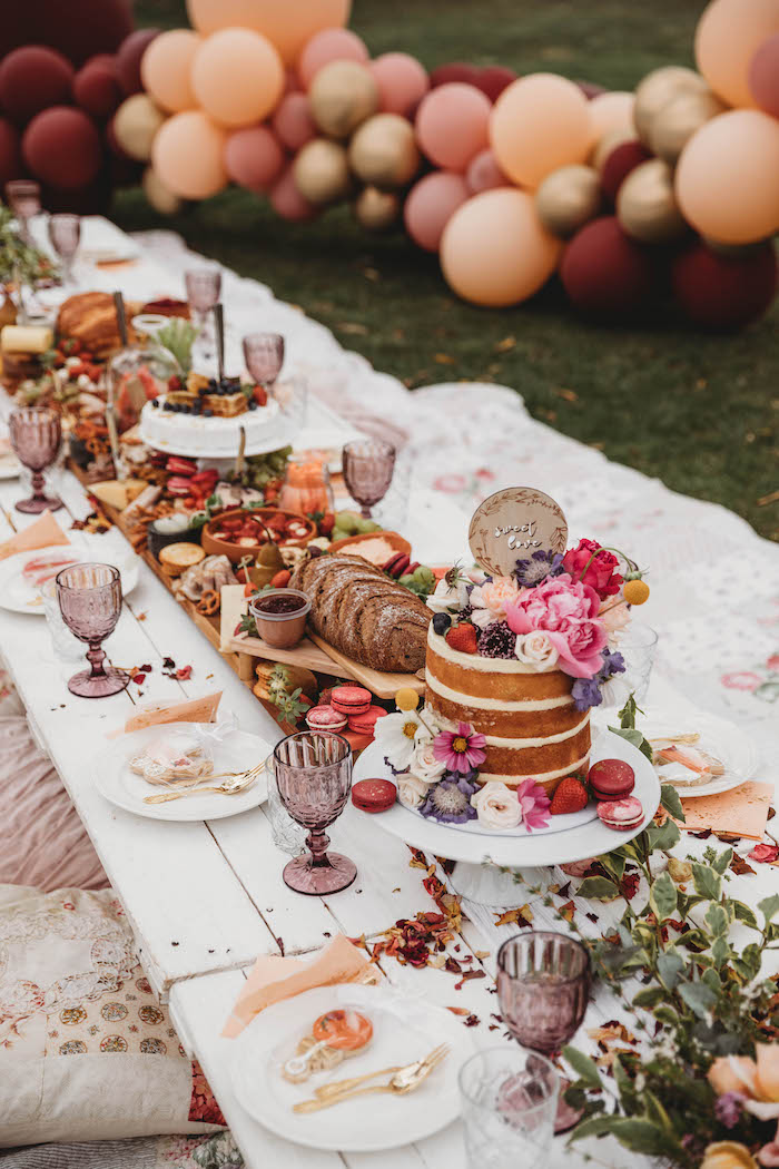 Gorgeous Low-seated Grazing Table from a Lavish Baby Sprinkle on Kara's Party Ideas | KarasPartyIdeas.com (17)