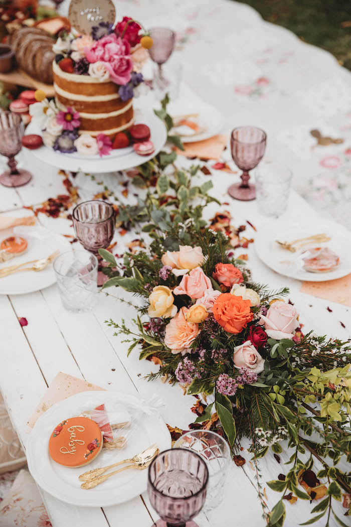 Guest Table + Floral Spray from a Lavish Baby Sprinkle on Kara's Party Ideas | KarasPartyIdeas.com (16)