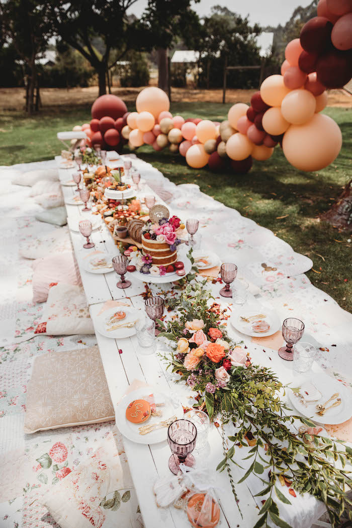 Pillow-seated Grazing Table from a Lavish Baby Sprinkle on Kara's Party Ideas | KarasPartyIdeas.com (13)