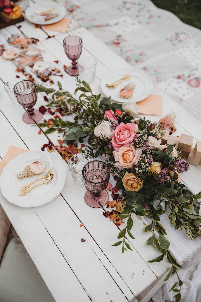Floral Garland/Spray + Guest Table Settings from a Lavish Baby Sprinkle on Kara's Party Ideas | KarasPartyIdeas.com (10)