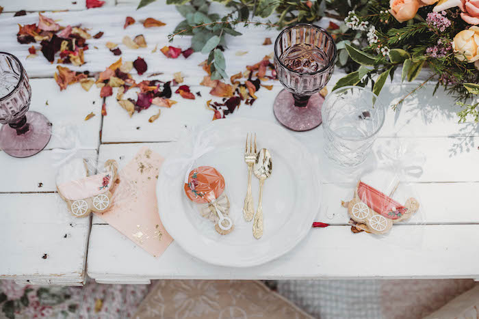 Baby Rattle Cookie Table Setting from a Lavish Baby Sprinkle on Kara's Party Ideas | KarasPartyIdeas.com (37)