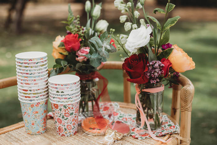 Floral-printed Paper Cups from a Lavish Baby Sprinkle on Kara's Party Ideas | KarasPartyIdeas.com (33)