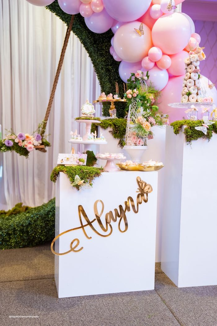 Garden Themed Pedestal Dessert Table from a Magical Garden Soiree on Kara's Party Ideas | KarasPartyIdeas.com (31)