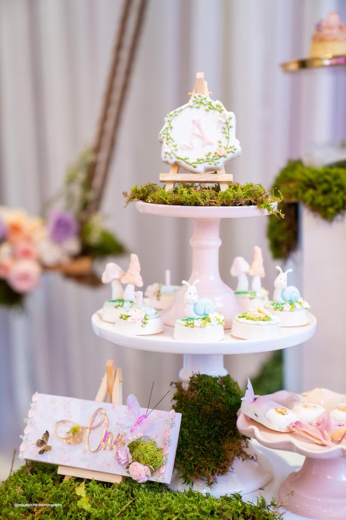 Garden-inspired Dessert Pedestal from a Magical Garden Soiree on Kara's Party Ideas | KarasPartyIdeas.com (30)