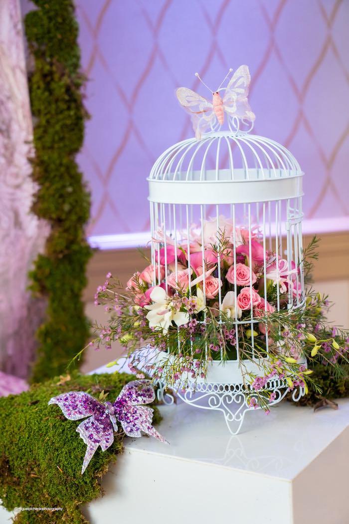 Moss + Flower Cage Centerpiece from a Magical Garden Soiree on Kara's Party Ideas | KarasPartyIdeas.com (19)