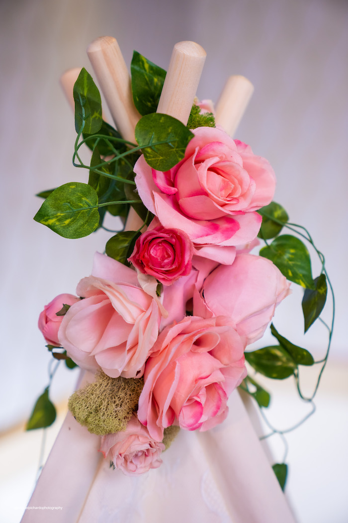 Pink Rose Teepee Topper from a Magical Garden Soiree on Kara's Party Ideas | KarasPartyIdeas.com (12)