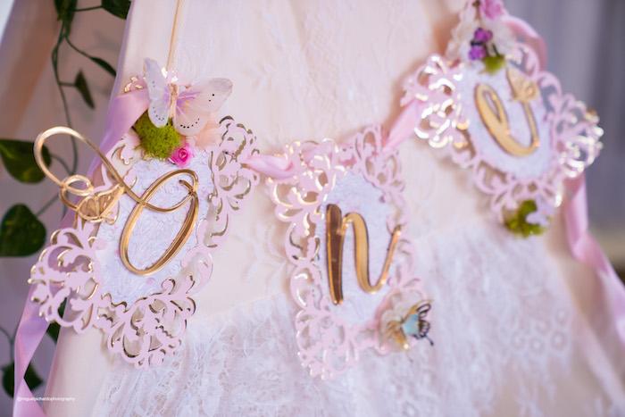 "Butterfly ""ONE"" Banner from a Magical Garden Soiree on Kara's Party Ideas | KarasPartyIdeas.com (11)"