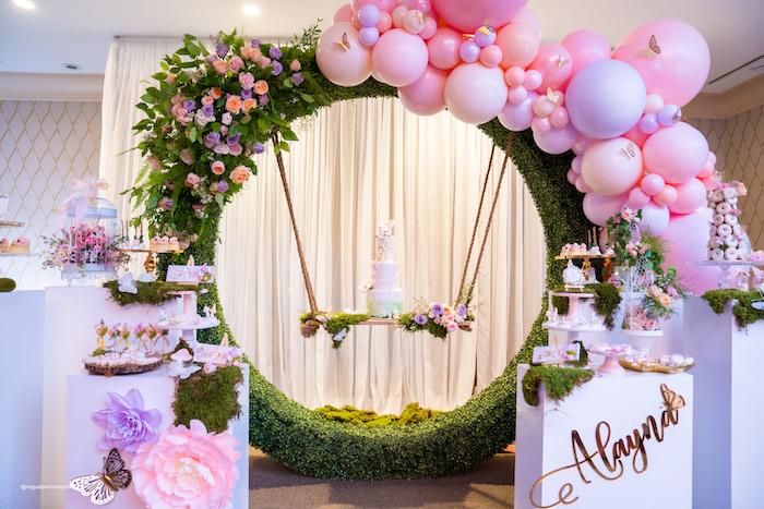 Swinging Cake from a Magical Garden Soiree on Kara's Party Ideas | KarasPartyIdeas.com (10)