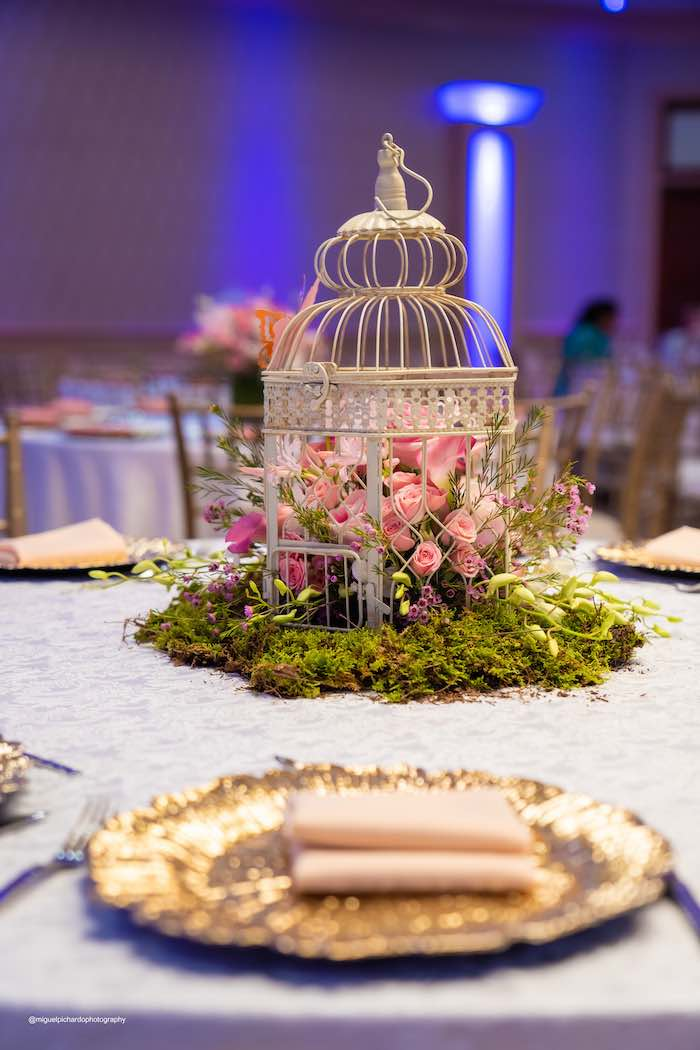 Moss and Flower Cage Centerpiece + Guest Table from a Magical Garden Soiree on Kara's Party Ideas | KarasPartyIdeas.com (7)