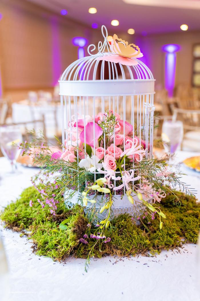 Moss and Flower Cage Centerpiece from a Magical Garden Soiree on Kara's Party Ideas | KarasPartyIdeas.com (6)