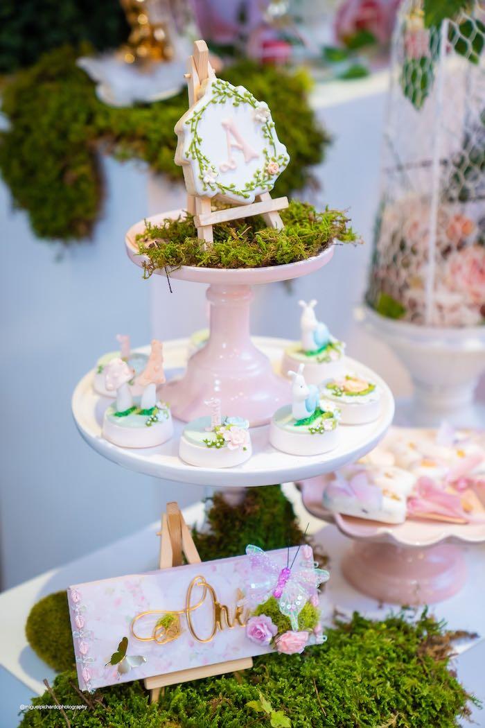 Moss-covered Dessert Pedestal from a Magical Garden Soiree on Kara's Party Ideas | KarasPartyIdeas.com (43)