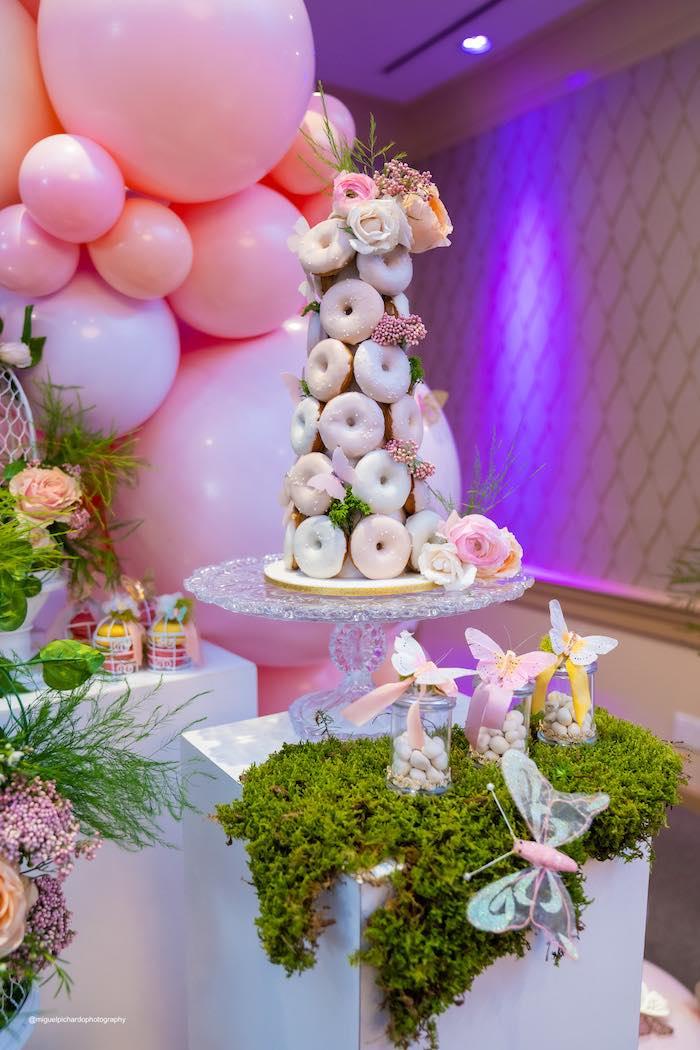 Donut Tower from a Magical Garden Soiree on Kara's Party Ideas | KarasPartyIdeas.com (39)