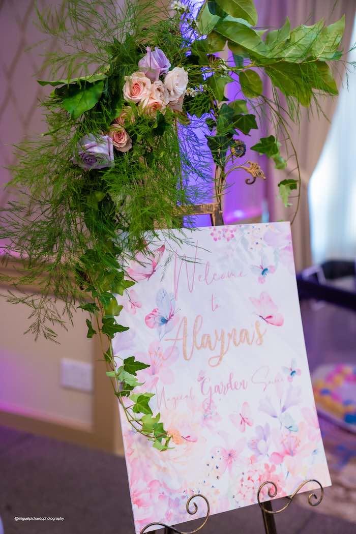 Garden-inspired Welcome Sign from a Magical Garden Soiree on Kara's Party Ideas | KarasPartyIdeas.com (38)