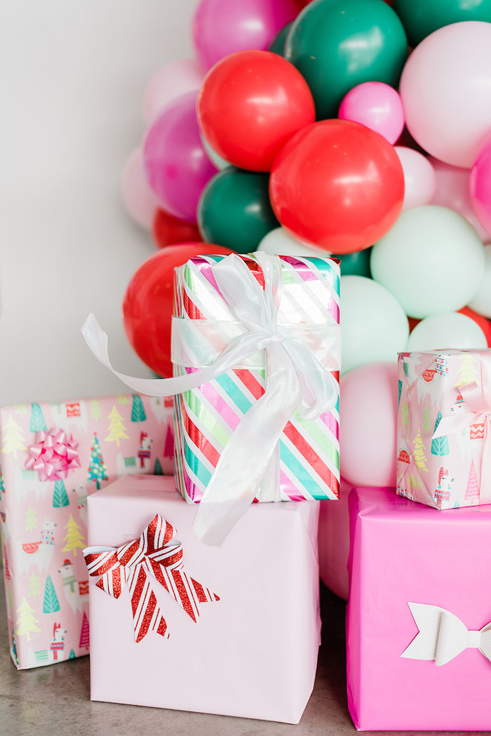 Wrapped Gifts from a Merry and Bright Christmas Holiday Party on Kara's Party Ideas | KarasPartyIdeas.com (38)