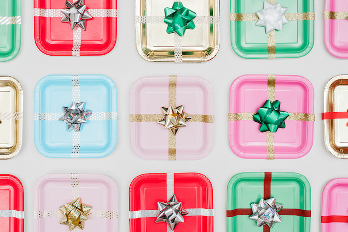 Wrapped Gift Plate Backdrop from a Merry and Bright Christmas Holiday Party on Kara's Party Ideas | KarasPartyIdeas.com (36)