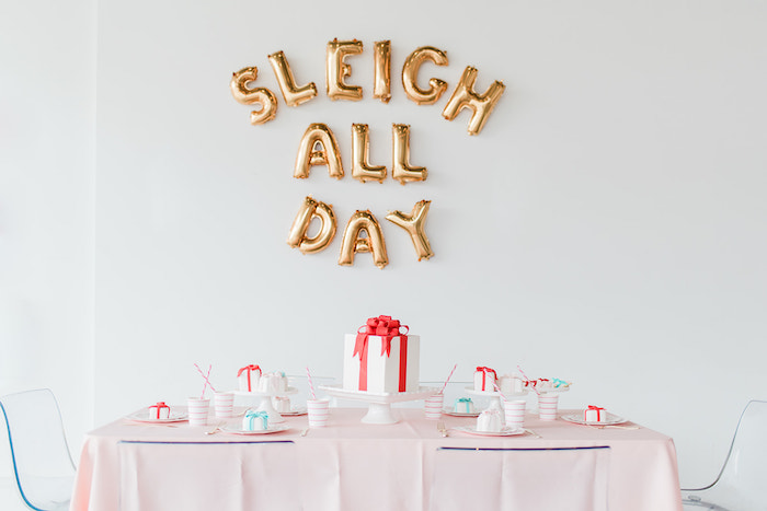 Guest Table from a Merry and Bright Christmas Holiday Party on Kara's Party Ideas | KarasPartyIdeas.com (31)