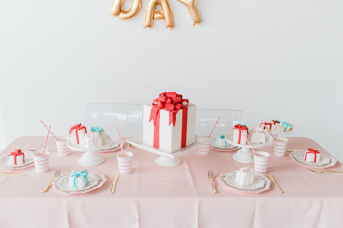 Guest Table from a Merry and Bright Christmas Holiday Party on Kara's Party Ideas | KarasPartyIdeas.com (28)