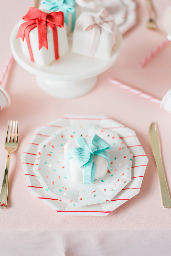 Mini Gift Cake Table Setting from a Merry and Bright Christmas Holiday Party on Kara's Party Ideas | KarasPartyIdeas.com (26)