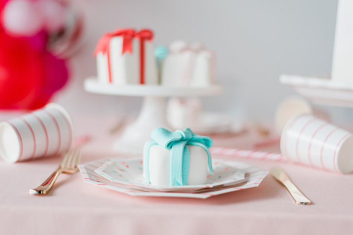 Mini Gift Cake Table Setting from a Merry and Bright Christmas Holiday Party on Kara's Party Ideas | KarasPartyIdeas.com (25)