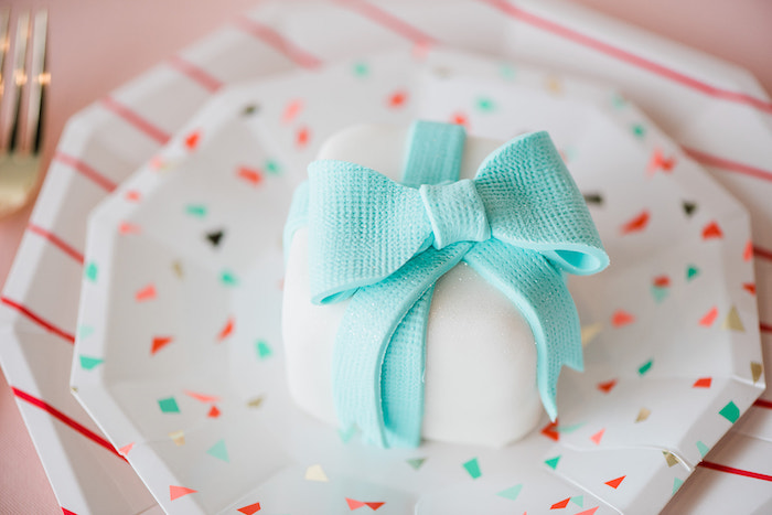 Mini Gift Cake from a Merry and Bright Christmas Holiday Party on Kara's Party Ideas | KarasPartyIdeas.com (24)